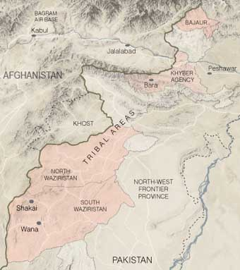 A 2007 map showing Pakistan&#8217;s tribal areas. Regions dominated by Islamist militants are highlighted in pink.