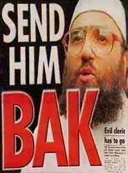 The cover of the Sun, a British tabloid, shortly before Bakri left Britain.