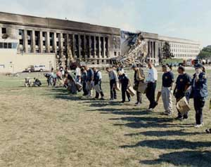 Personnel from several agencies searching for evidence at the Pentagon.
