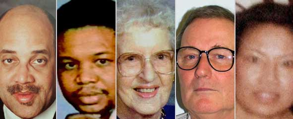The five fatal victims of the anthrax attacks, from to right: Josep Curseen Jr., Thomas Morris, Ottilie Lundgren, Robert Stevens, and Kathy Nguyen.