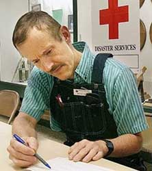 Bruce Ivins working as a Red Cross volunteer in 2003.