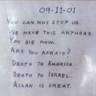 The message of the anthrax letter addressed to Tom Daschle.