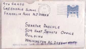 The envelope to the Tom Daschle letter.