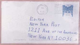 The envelope to the New York Post anthrax letter.