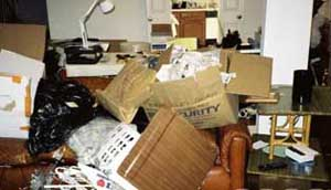A picture of Steven Hatfill&#8217;s apartment after the FBI went through it.