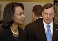 Condoleezza Rice and Philip Zelikow in Tel Aviv, October 2006.