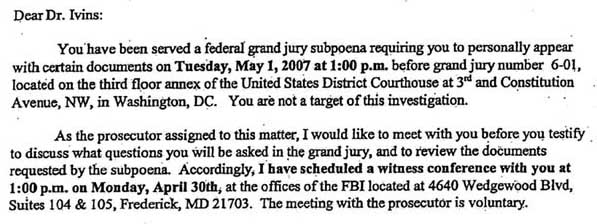 The FBI&#8217;s letter to Bruce Ivins.