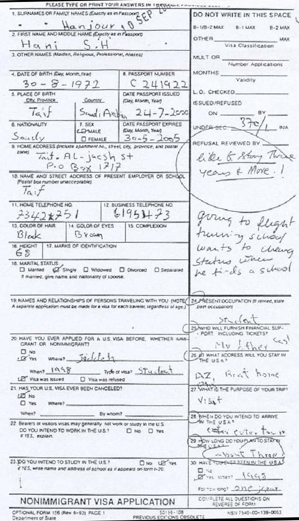 Hani Hanjour's September 10 US visa application, which was rejected. The fact he requested permission to stay in the US for three years is highlighted on the right.