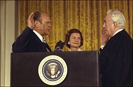 Gerald Ford takes the oath of office.