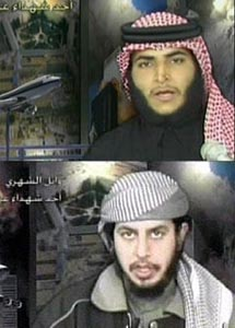 Hamza Alghamdi, top, and Wail Alshehri, bottom, in their martyr videos.