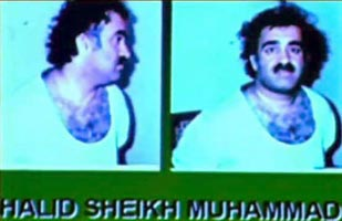 Khalid Shaikh Mohammed shortly after arrest. (Note: this picture is from a video presentation on prisoners the Pakistani government gave to BBC filmmakers, and it is not from the ISI video. It has been adjusted to remove some blue tinge.)