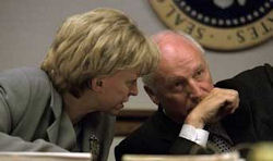 Lynne Cheney conferring with Dick Cheney in the early afternoon on 9/11.