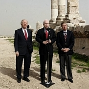 John McCain and Joseph Lieberman, speaking to reporters in Amman, Jordan.
