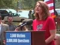 9/11 Family Member Mindy Kleinberg speaks at the rally.
