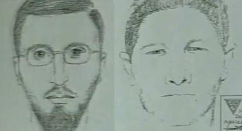 Drawings made by FBI sketch artists of Niaz Khan's al-Qaeda contact in the US (left), and one of the people he trained with in Pakistan (right).