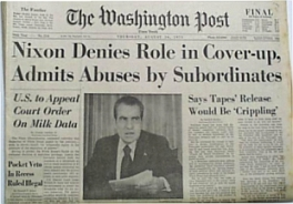 August 16, 1972 front page of the Washington Post, reporting on Nixon's address.