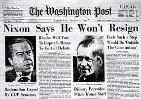 Washington Post headline from August 7, 1974: 'Nixon Says He Won't Resign.'