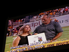 Mary and Pat Tillman Sr.  in 2002 at a halftime ceremony held during an Arizona Cardinals game in honor of their son.