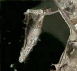 A satellite photo of the port of Yemen.