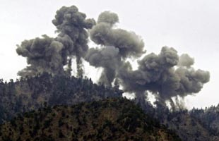 US bombing in Tora Bora, December 14, 2001.