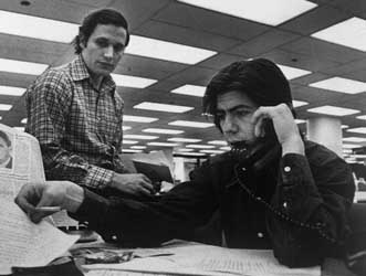 Bob Woodward and Carl Bernstein in the offices of the Washington Post.